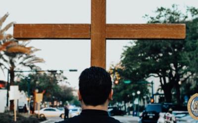 Good Friday Stations of the Cross walk down Main Street